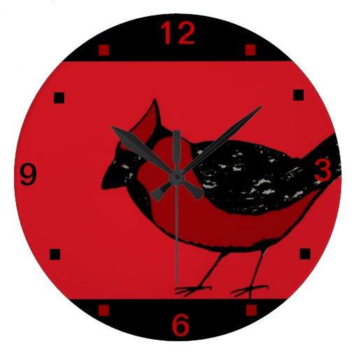 Reloj ROJO y NEGRO del PÁJARO CARDINAL de pared