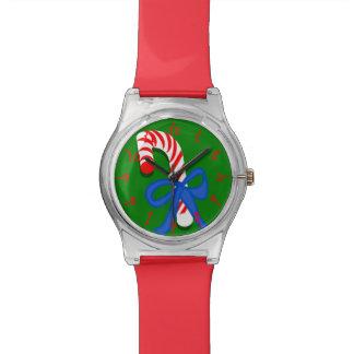 Reloj rojo y verde del bastón de caramelo