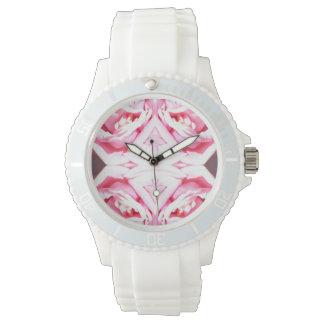 reloj rosado agradable del estampado de plores