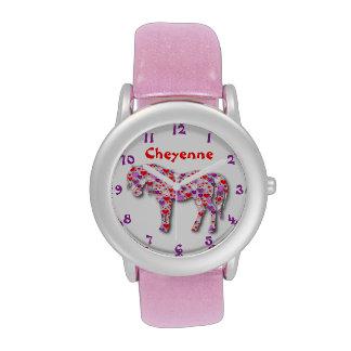 Reloj rosado clásico personalizado del potro del c