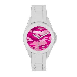 Reloj rosado de Camo con el PERSONALIZABLE