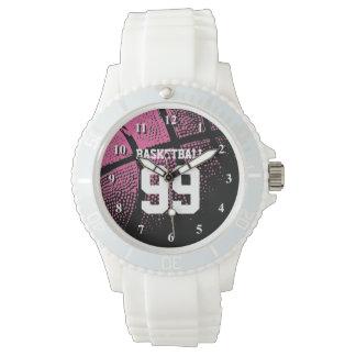Reloj rosado de encargo del número del jersey del