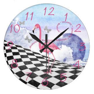 Reloj rosado de la fantasía del flamenco del país