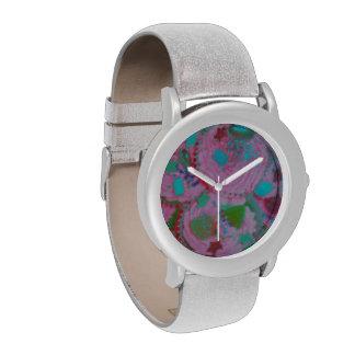 Reloj rosado de la impresión de las magdalenas