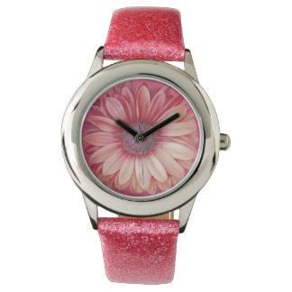 Reloj rosado de la margarita