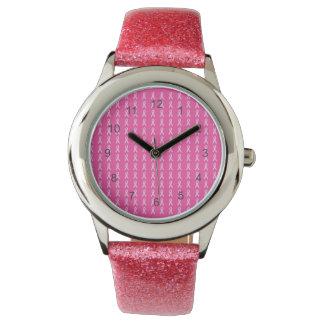 Reloj rosado de las cintas