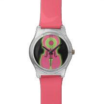 Reloj rosado de neón del violín