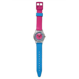 Reloj rosado del ancla de la marina de guerra