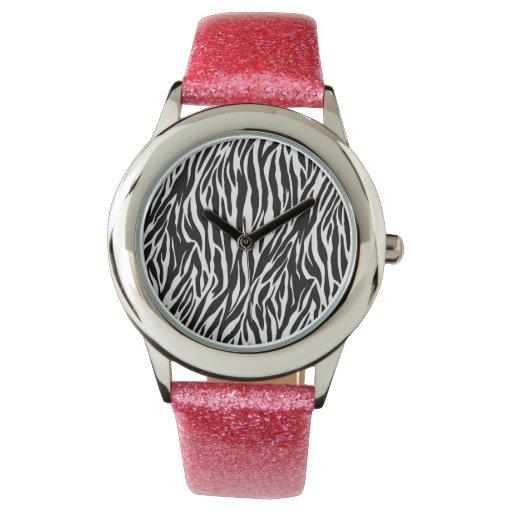 Reloj rosado del brillo con la cara de la cebra