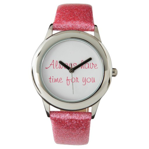 Reloj rosado del brillo de las mujeres