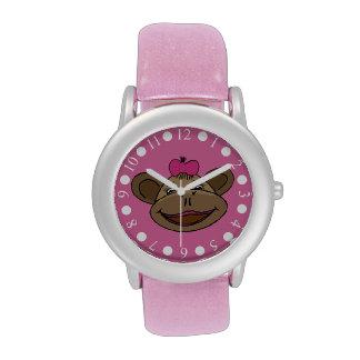 Reloj rosado del brillo de los chicas del mono