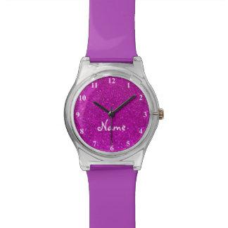 Reloj rosado del brillo para los chicas con falsas