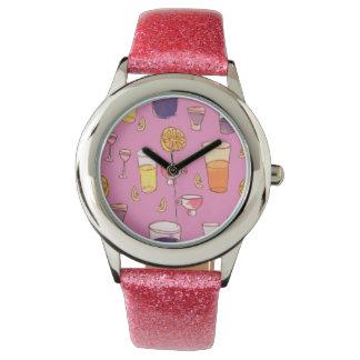 Reloj rosado del cóctel