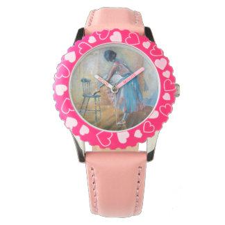 Reloj rosado del corazón de la bailarina
