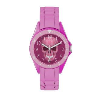 Reloj rosado del cráneo del camuflaje