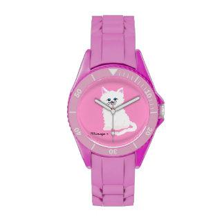 Reloj rosado del gatito del andWhite de las patas