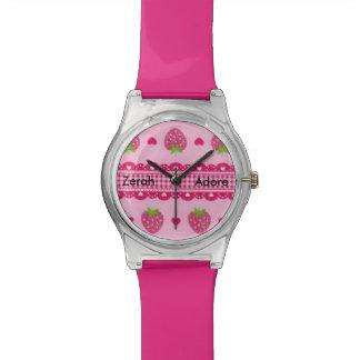 Reloj rosado del nombre del mensaje de los corazon