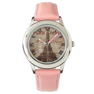 Reloj rosado del número romano de París de la