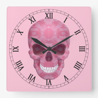 Reloj rosado del número romano del cráneo del camu