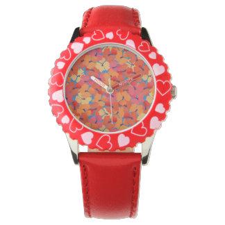 Reloj rosado del rojo de los niños de las amapolas