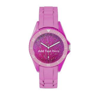 Reloj rosado del soplo de polvo