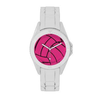 Reloj rosado del voleibol