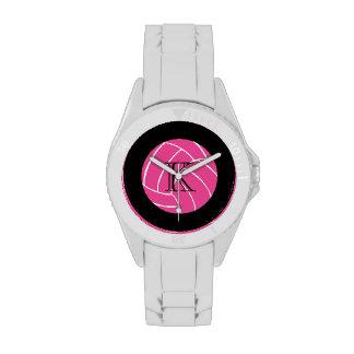 Reloj rosado del voleibol del monograma