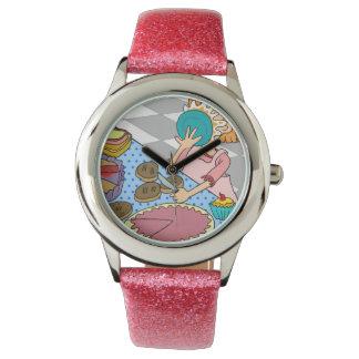 Reloj rosado divertido para los chicas