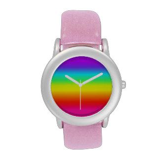 Reloj rosado lindo del arco iris del brillo