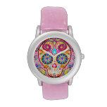 Reloj rosado lindo del cráneo del azúcar - día del