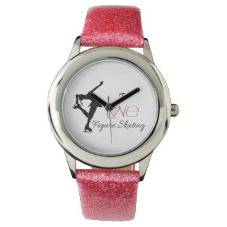Reloj rosado patinaje artístico de la correa del