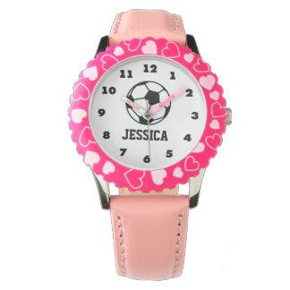 reloj rosado personalizado del balón de fútbol