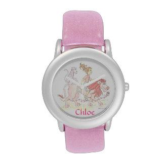 Reloj ROSADO personalizado del brillo con el león