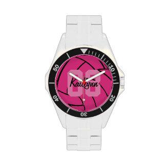 Reloj rosado personalizado del monograma del