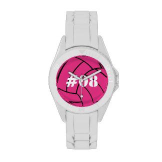Reloj rosado personalizado del voleibol