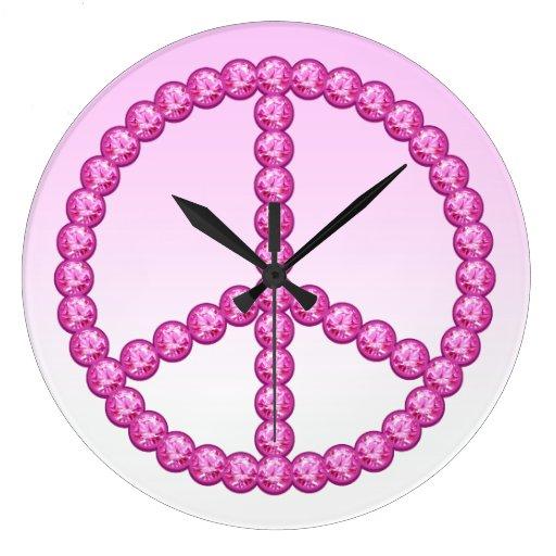 """Reloj rosado tiempo de paz"""" de la paz de Carleigh"""
