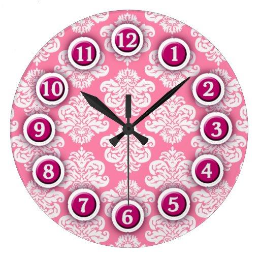 Reloj rosado y blanco del modelo del damasco