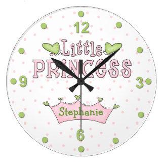 Reloj rosado y verde de la princesa pared