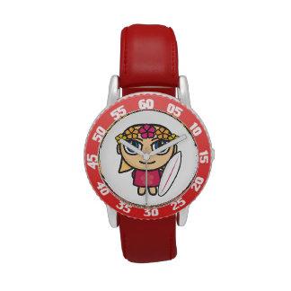 Reloj rubio de los niños del chica de la persona
