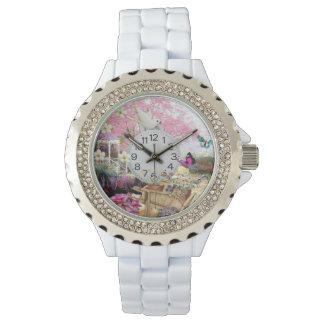 reloj rural del diamante artificial de la
