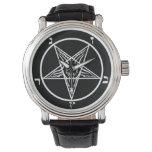 reloj satan del metal del sigil negro del baphomet
