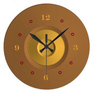 Reloj simplista del oro y de pared de Tan>