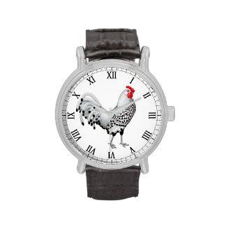 Reloj Spangled plata del gallo de Hamburgo