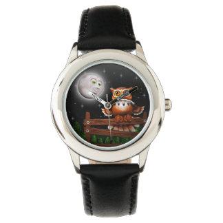 Reloj surrealista del búho y de luna