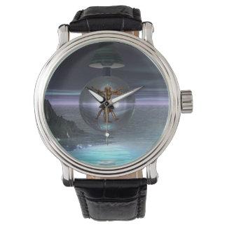 Reloj surrealista del hombre de Leonardo da Vinci