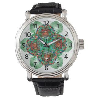 Reloj Tantric tibetano del diseño de la mandala