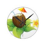 Reloj temático de las vacaciones de la flor de Haw