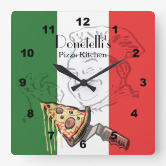 Reloj temático italiano del restaurante de la pizz