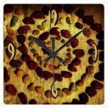 Reloj terroso del cuadrado del círculo de la roca