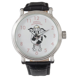 "Reloj ""udderly moovelous"" de la vaca del dibujo"